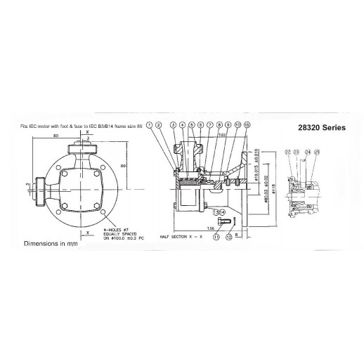 Jabsco серия 28320 гигиенический с гибким импеллером, размер P80